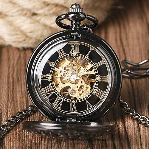 YGB fickur, vintage hängande klocka fickur, mekanisk handlindning spindelnät dubbel design steampunk retro fickur presenter