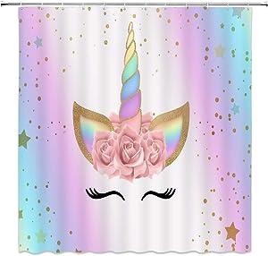 AMFD Unicorn Shower Curtain Rainbow Magic Head Rose Flower Romantic Cute Girl Baby Kid Pink Cartoon Bathroom Curtains Decor Polyester Fabric Set Include Hooks,(70
