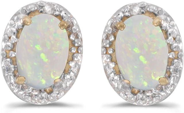 14K Yellow Gold Oval White Opal Clear Sapphire Stud Earrings