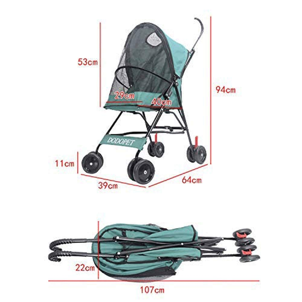 Green TYT Pet Trolley Small Dog Outdoor Backpack Travel Bag Fabric Folding Nylon 360 Degree with Waterproof Shock Absorber Small Lightweight Cart Cat Four Wheels Folding Dog Trolley Senior Pet