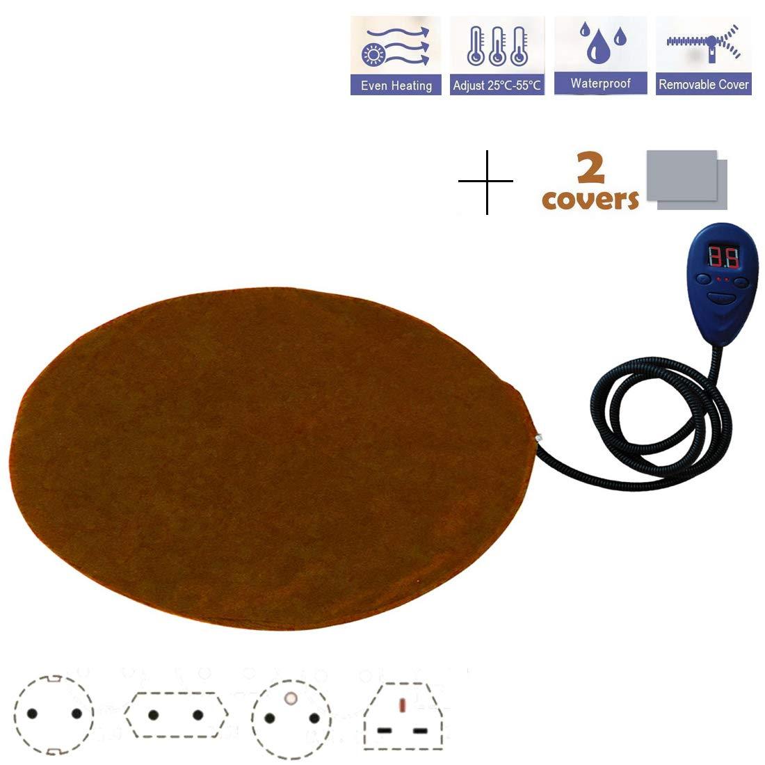 Brown Europeanplug2pcs Brown Europeanplug2pcs HABITREE Pet Heating Pad Cat Dog Electric Self Heating Mat Waterproof Adjustable Chew Resistant Steel Cord 30X30CM 12V, Brown,Europeanplug2pcs