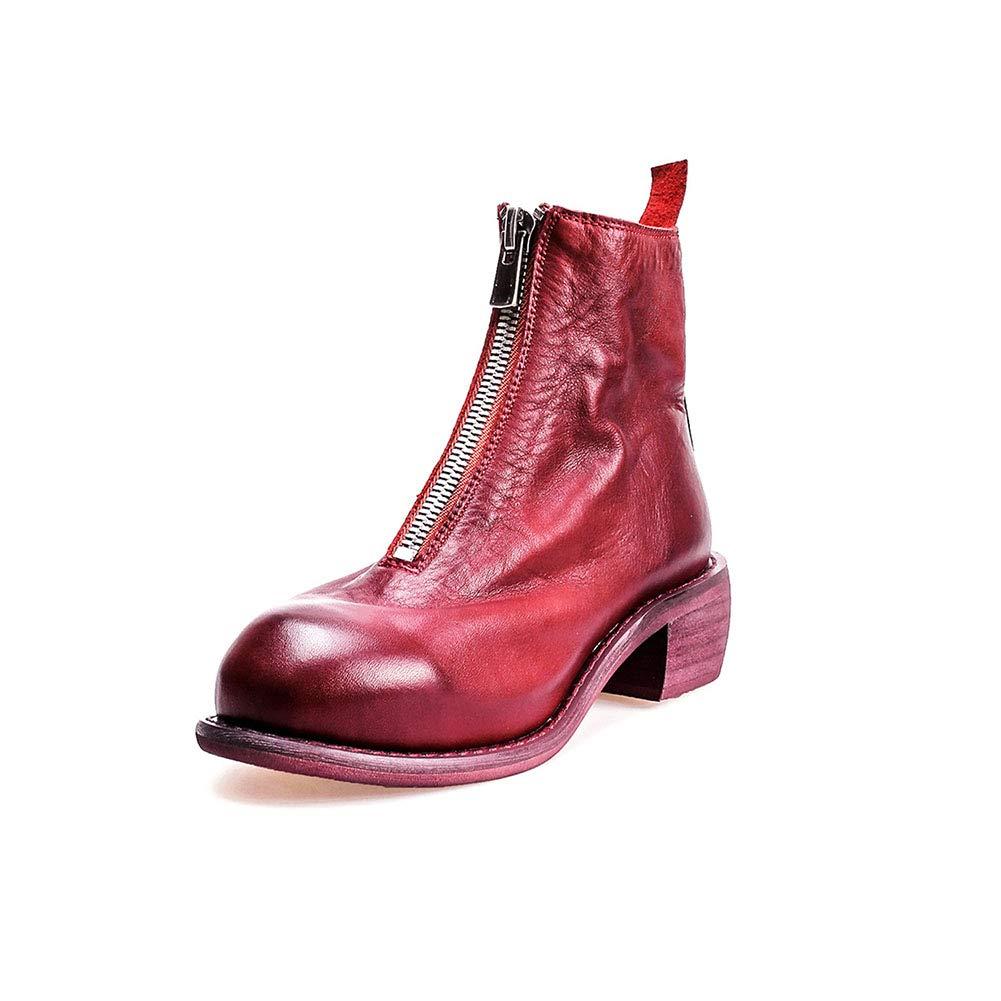 Damen Leder Front Reißverschluss Stiefelies Innen Und Außen Weiche Leder-Umgedrehte Stiefel 2018 Herbst Winter Punk Style,rot1,36