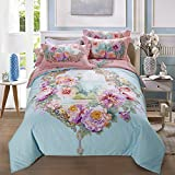 Papa&Mima Flowers Window Duvet Cover Set Flat Sheet Pillow Cases 800TC Soft Sanding Cotton Fabric 4Pcs King Size Bedding Sets