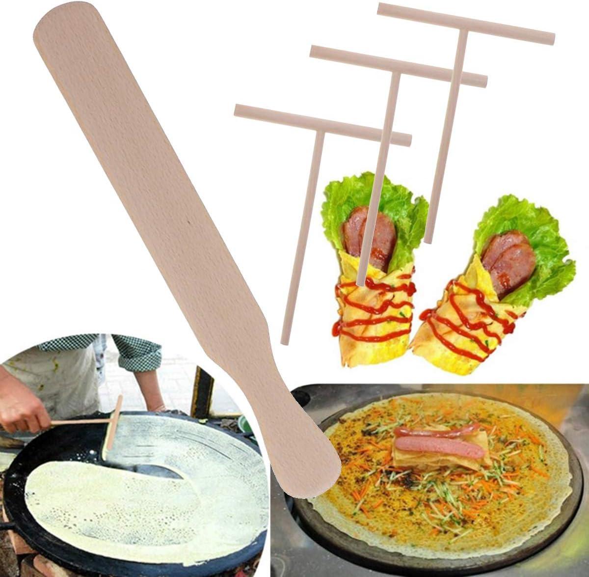 Set Esparcidor de Crepe de Madera Utensilios de Cocina para panqueques Esparcidor de Crepe de Madera y esp/átula Herramientas de extensi/ón de Pasta de rastrillo de Tortilla YH 4pcs