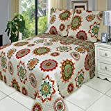 Julia Warm King Size, Over-Sized Coverlet 7pc Bedding set, Luxury Microfiber Printed Quilt by Royal Hotel