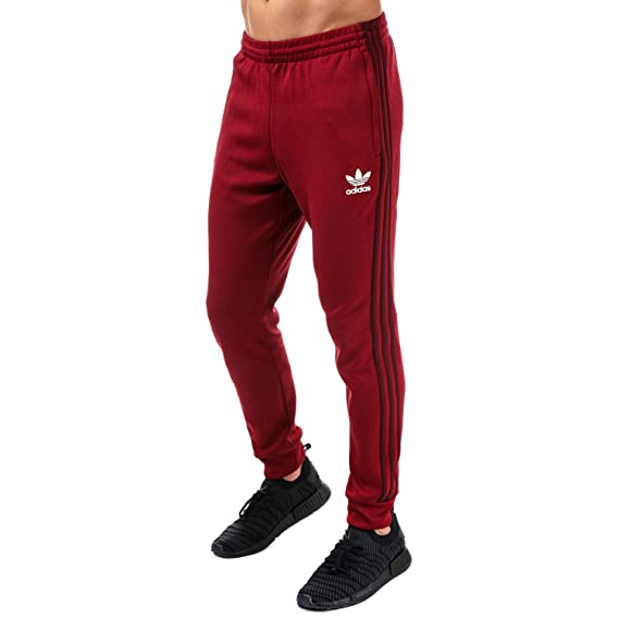 4842705fc2 adidas Originals Track Pant Mens Superstar SST Tracksuit Bottoms Trefoil  Slim Fit Pant New BQ7784, Burgundy, XS