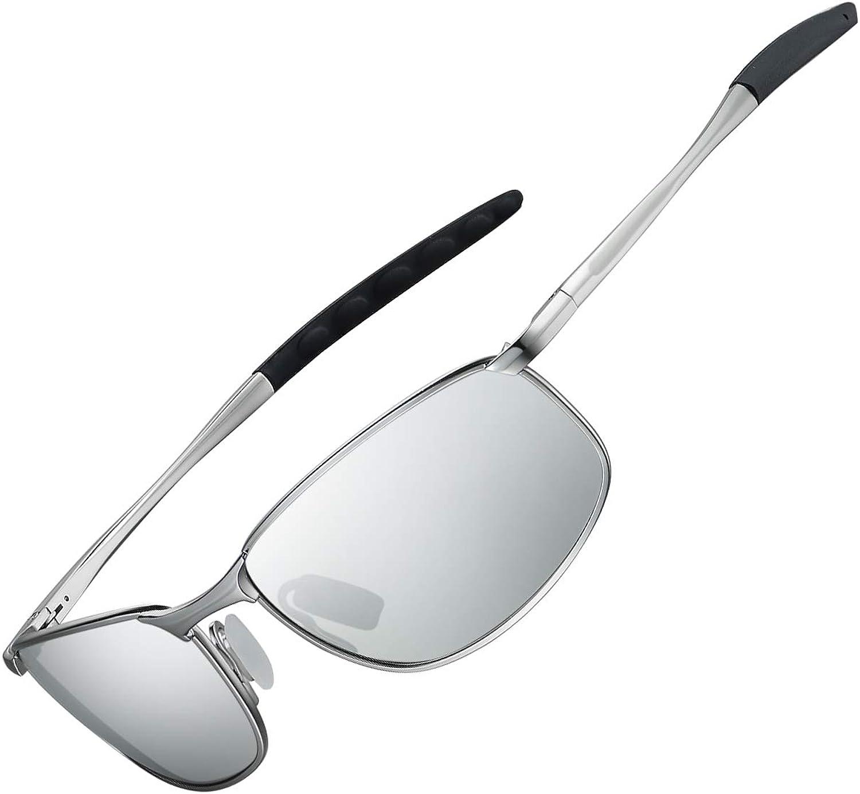 WHCREAT Photochrome Polarisierte Sonnenbrille mit Federscharnieren UV400-Schutzglas f/ür Herren