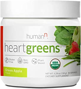 HumanN HeartGreens | Superfood Organic Powder with Wheatgrass, Kale, Spinach, and Spirulina, USDA Organic Non-GMO (Great Tasting Green Apple Flavor, 5.3-Ounce)