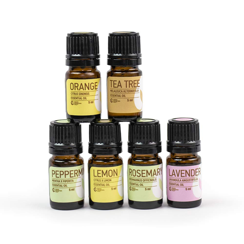 Rocky Mountain Oils - The Essentials Kit - Includes 100% Pure Lavender, Lemon, Orange, Peppermint, Tea Tree, and Rosemary Essential Oils - 5 ml Bottles