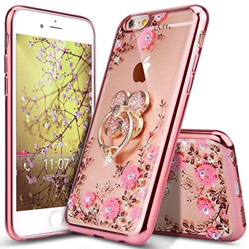 iPhone 6 Plus Case,iPhone 6S Plus Case,ikasus Glitter Crystal Plating Butterfly Floral Luxury Bling Diamond Rhinestone Clear TPU Case for iPhone 6/6S Plus 5.5, Rose Gold Pink Flower,Clover Ring Stand