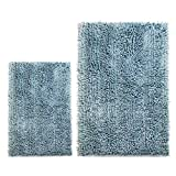 Cosyroom Set 2 Piece Microfiber Bathroom Rugs Extra Soft Absorbent, Luxury Butter Chenille Shaggy Bath Mats, Non Slip Shower Mat Carpet Floor Rug Machine Washable 2 Pack -16' x 24' + 20' x 31', Pink