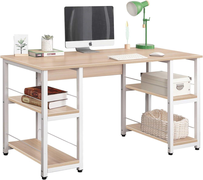DlandHome 55 inches Computer Desk, Home Office Trestle Desk, Large Workstation Desk with Shelves,Writing Table, DZ012, Maple