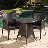 Bistro Set / Outdoor Wicker Bistro Set, Contemporary Style Brayden Outdoor 3-piece Wicker Bistro Set 296210 in Brown Finish, Assembly Required