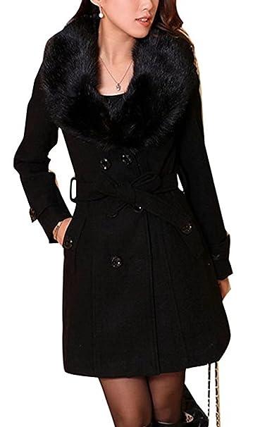 Mujer Abrigo lana de invierno de las mujeres con de piel sintética Parka otoño Chaqueta abrigo elegante doble botonadura largo la Outwear cinturón: ...