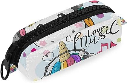 Lápices Bolso de oficina Bolígrafo Estuche de lápices escolar Bebé de dibujos animados Unicornio Amor Música Bolsa Cremallera grande: Amazon.es: Oficina y papelería