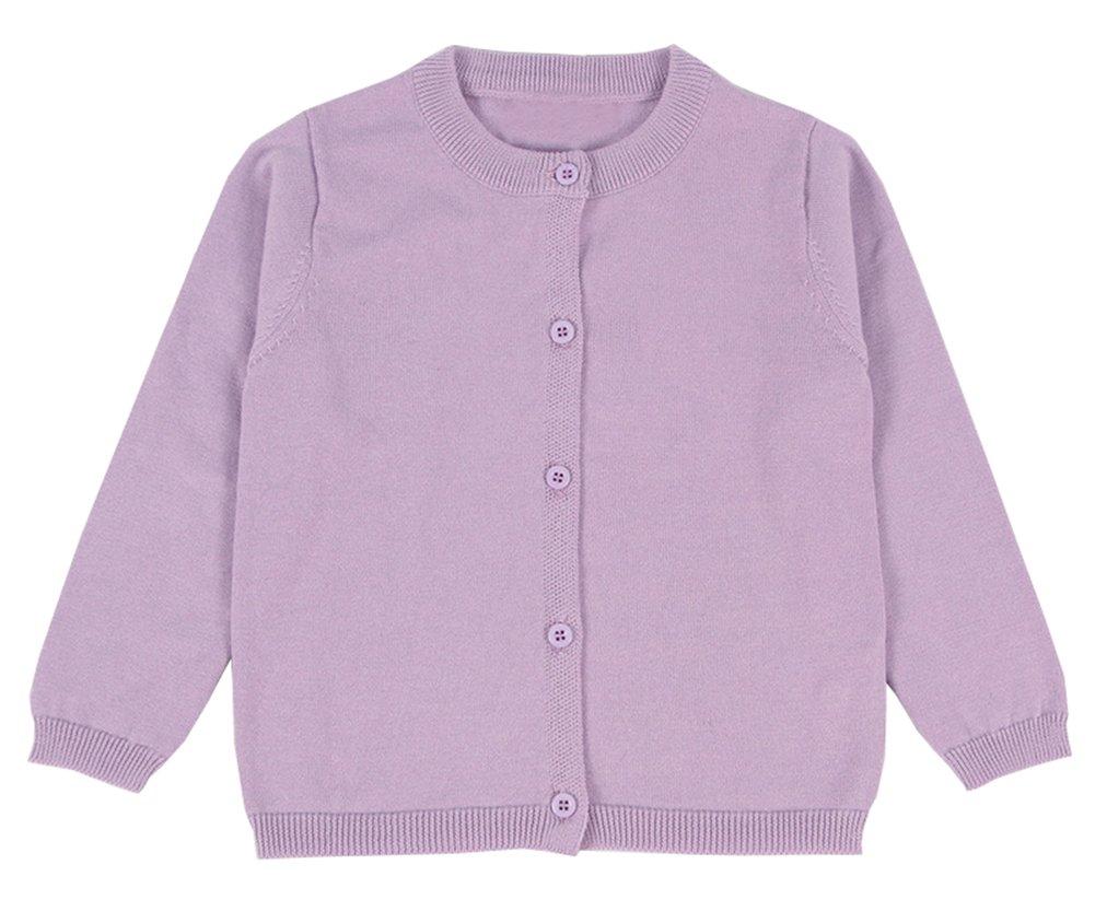 RJXDLT Girls Crewneck Cardigan Long Sleeve Children Button Cotton Sweater Uniform Sweaters for Little Girls 3Y Light Purple