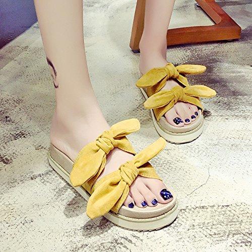 RUGAI-UE Hermana suave Mujer Zapatillas de verano lindo arco inferior grueso desgaste zapatillas zapatos antideslizantes Ginger