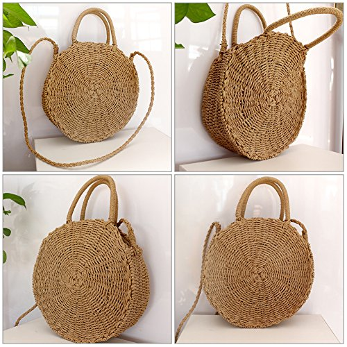 Round Summer Handbag White Shoulder Straw Rattan Bag Crossbody Retro Handmade Woven Beach Bag q4twfxZpR