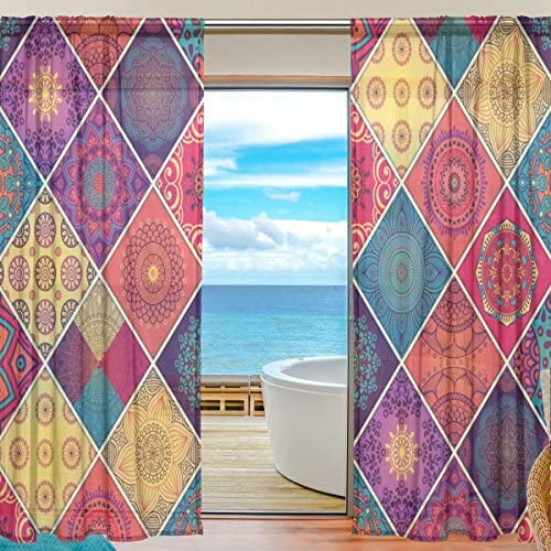 ALAZA U Life Vintage Bohemian Indian Turkish Floral Mandala Patchwork Rod Pocket Sheer Voile Window Curtain Curtains 55 inch Wide x 84 inch Long Per Panel