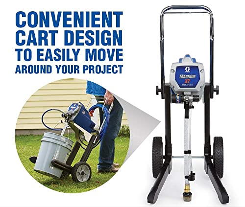 Using a high performance airless paint sprayer like Graco Magnum X7, you can spray a wide variety of coating from stains to heavy latex with ease