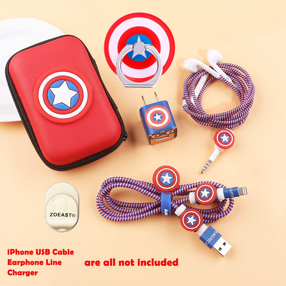 ZOEAST DIY Protector Yellow Star Data Cable USB Charger Line Earphone Wire Saver Organizer Compatible with iPhone 5S SE 6 6S 7 8 Plus X XS XR Max iPad iPod iWatch Basic Styles, Spongebob TM