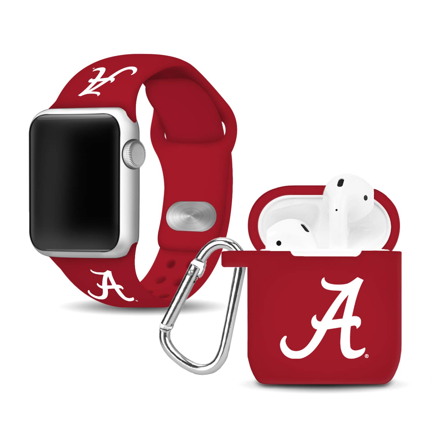 Affinity Bands Alabama Crimson Tide Silicone Watch Band and Case Cover Combo Compatible with Apple Watch and AirPod Case by Affinity Bands