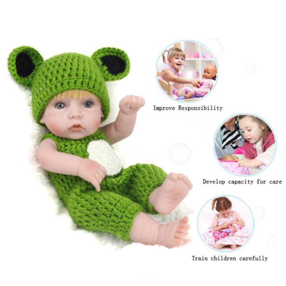 QXMEI Reborn Baby Dolls Handmade Lifelike Realistic Silicone Vinyl Baby Doll Soft Simulation 11 Inch 28 Cm Eyes Open Girl Favorite Gift