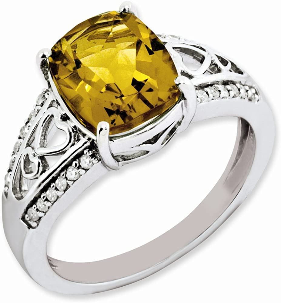 H-I Color, I2-I3 Clarity Ornate Sterling Silver Whiskey Quartz /& .12 Ctw Diamond Ring
