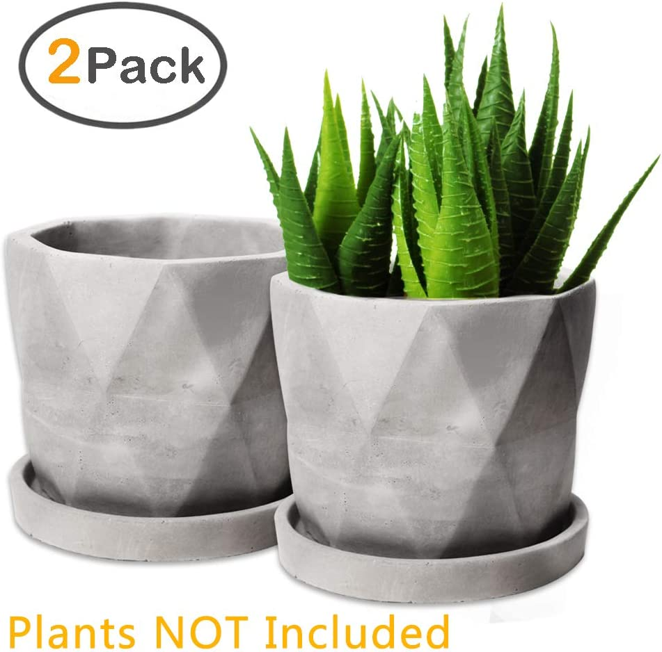 Succulent Pots, ZOUTOG Grey 4.42 inch Concrete Flower Planter Pot Set with Cement Tray, Pack of 2 Plants NOT Included