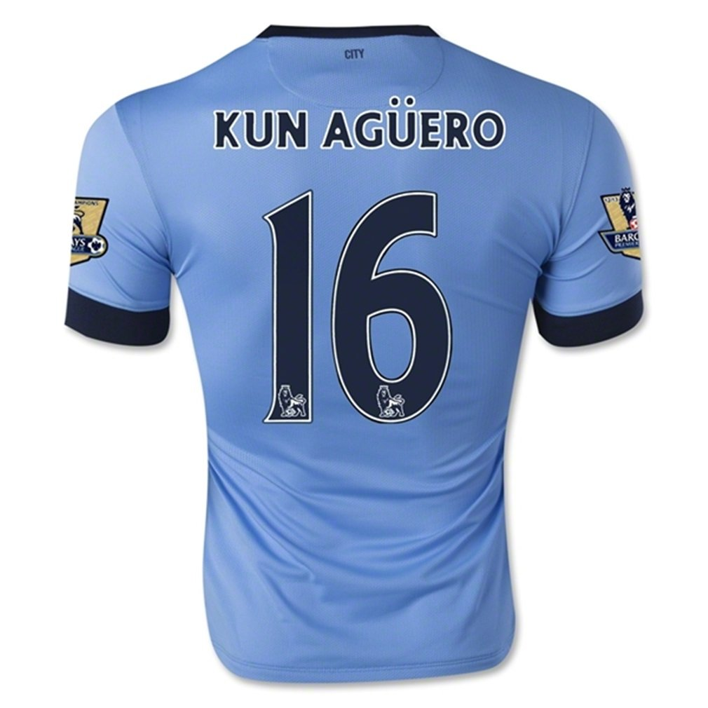 Nike Manchester City Home 2014/15 Jersey (Official with Kun Aguero 16 and EPL Patches - Size M by Nike