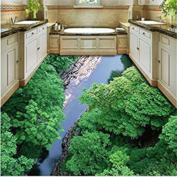 Sproud Personalized Custom Background 3D Mountain Tianreng Water Creek Jungle  Bathroom Living Room Wear Waterproof Flooring