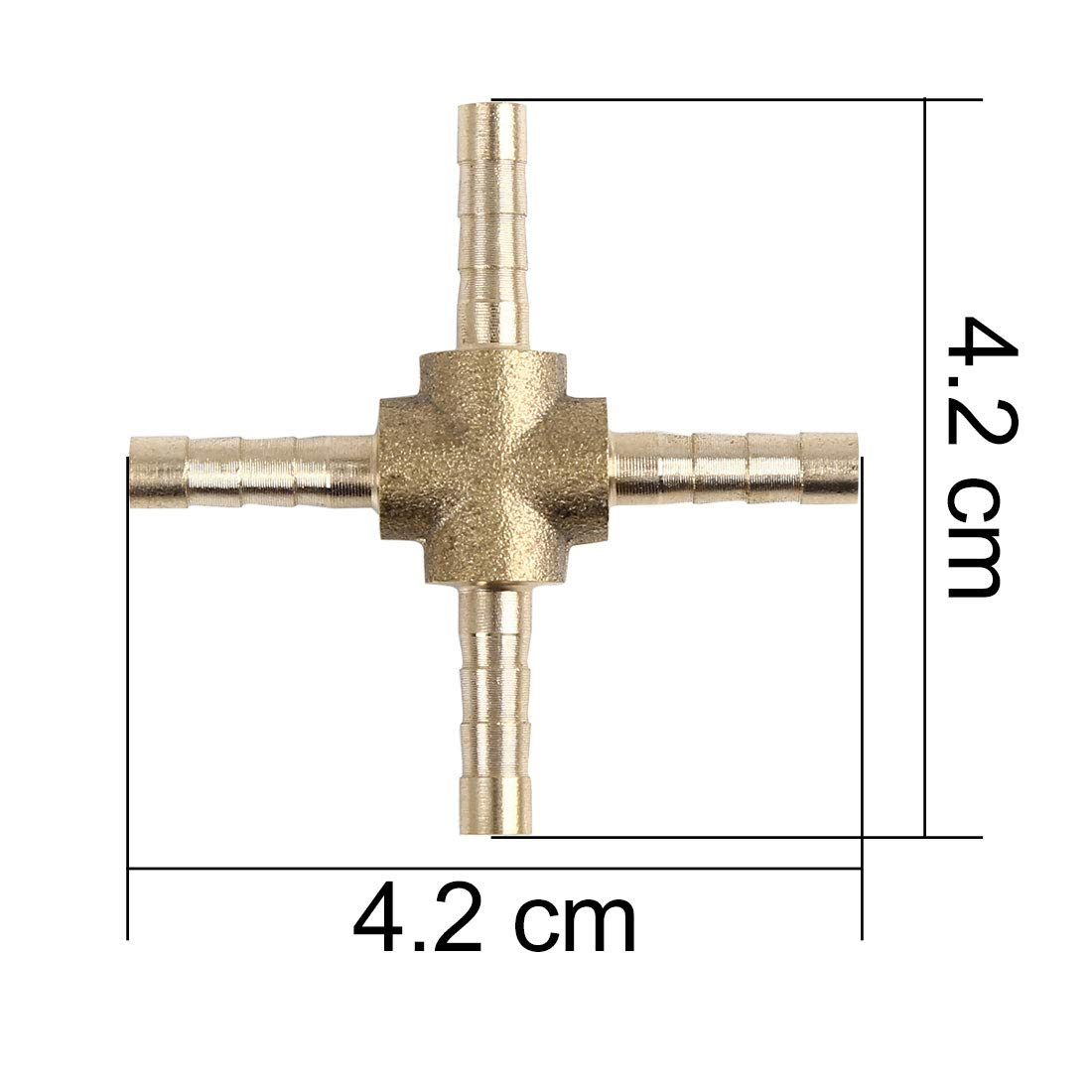 X AUTOHAUX 4mm Brass Hose Barb Fitting Cross 4 Way Connector for Air Water Gas Oil 5pcs