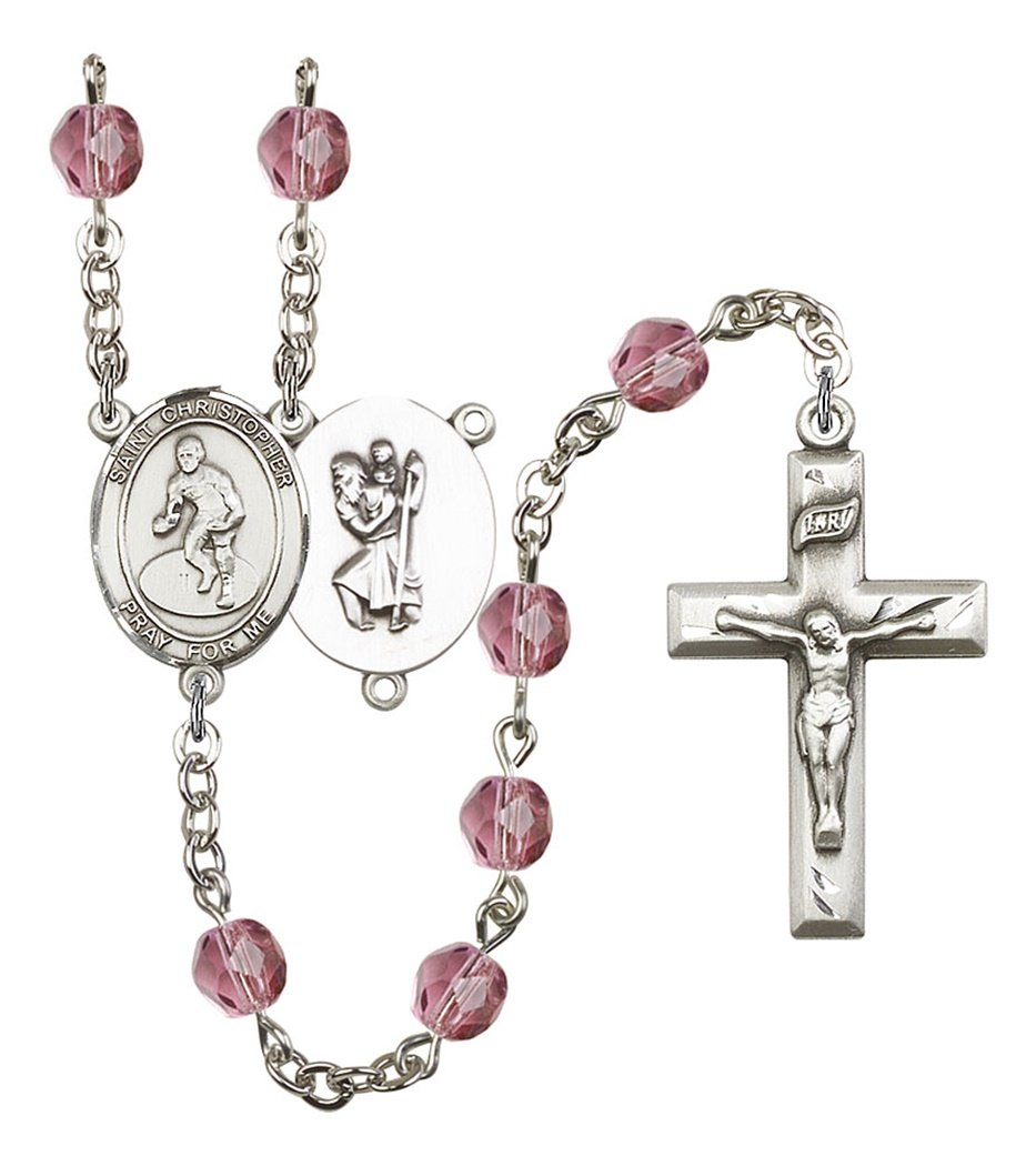 February Birth Month Prayer Bead Rosary with Saint Christopher Wrestling Centerpiece, 19 Inch