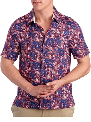 Nat Nast Mens Short Sleeve Palm Print Silk Camp Shirt XX-Large Naval Blue
