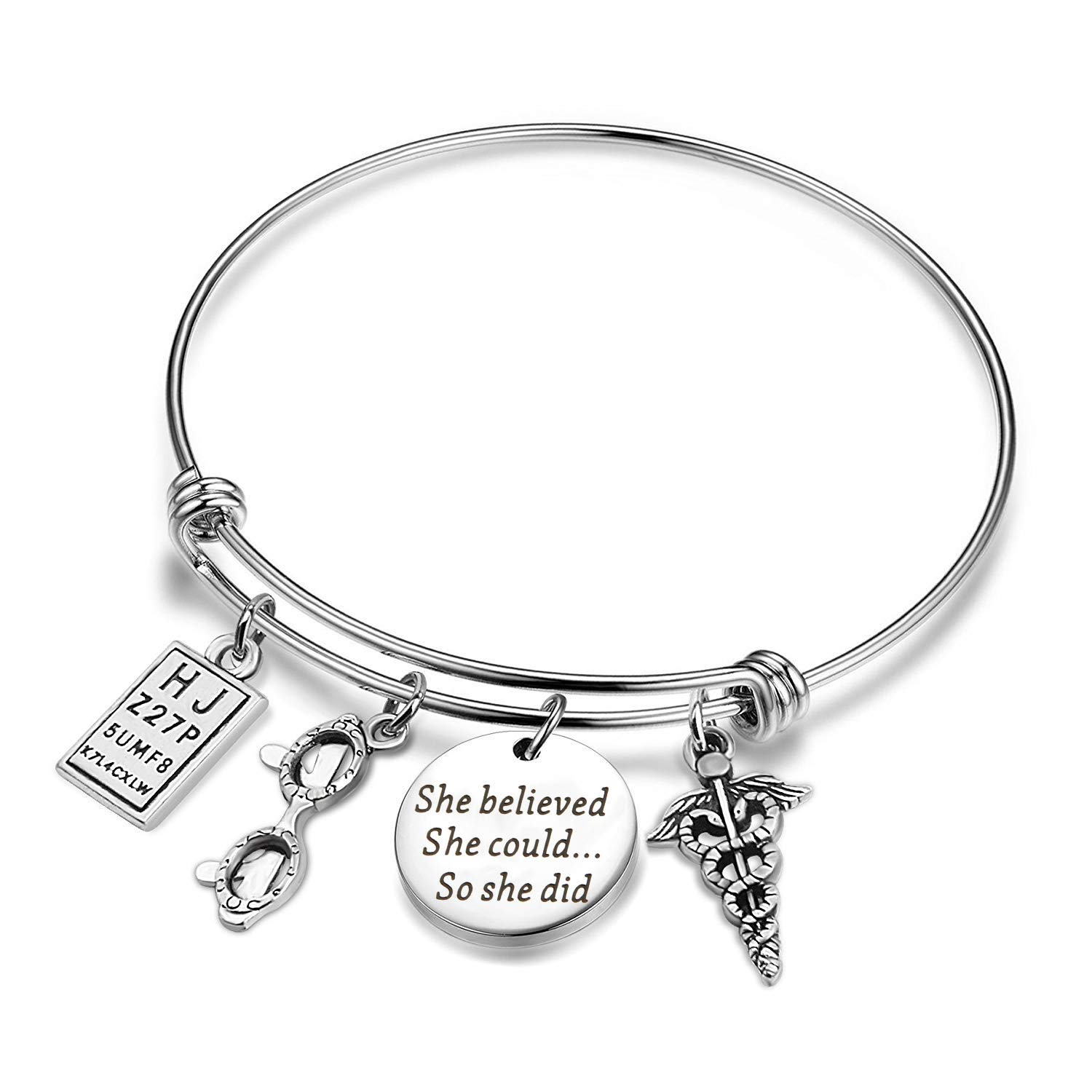 She Believed She Could So She Did Adjustable Bangle Optometrist Gifts Graduation Birthday Gift for Eye Doctor Optometry Student