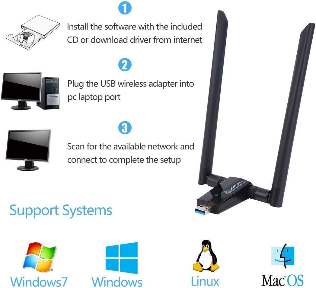 LONOSUN Adaptador inalámbrico WiFi Dongle-USB 1200 Mbps (Plug and Play, no Requiere instalación de Controlador), Adaptador USB WiFi para ...