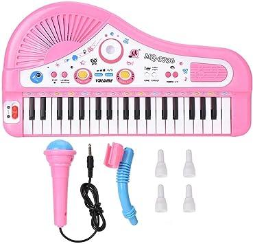37 Tastiera Strumento Pianoforte Imparare Giocattoli Musicali Gioco Educativo Precoce Tastiera Elettronica Multifunzione con Microfono per 3Anni