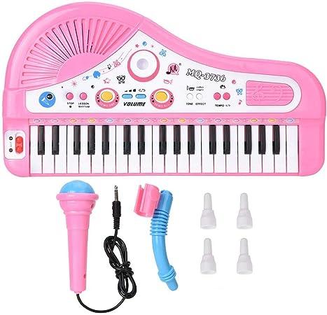 37 Teclado Instrumento de piano eléctrico, niños rompecabezas Educación temprana Aprendizaje de música Piano con micrófono para 3 años(Pink)