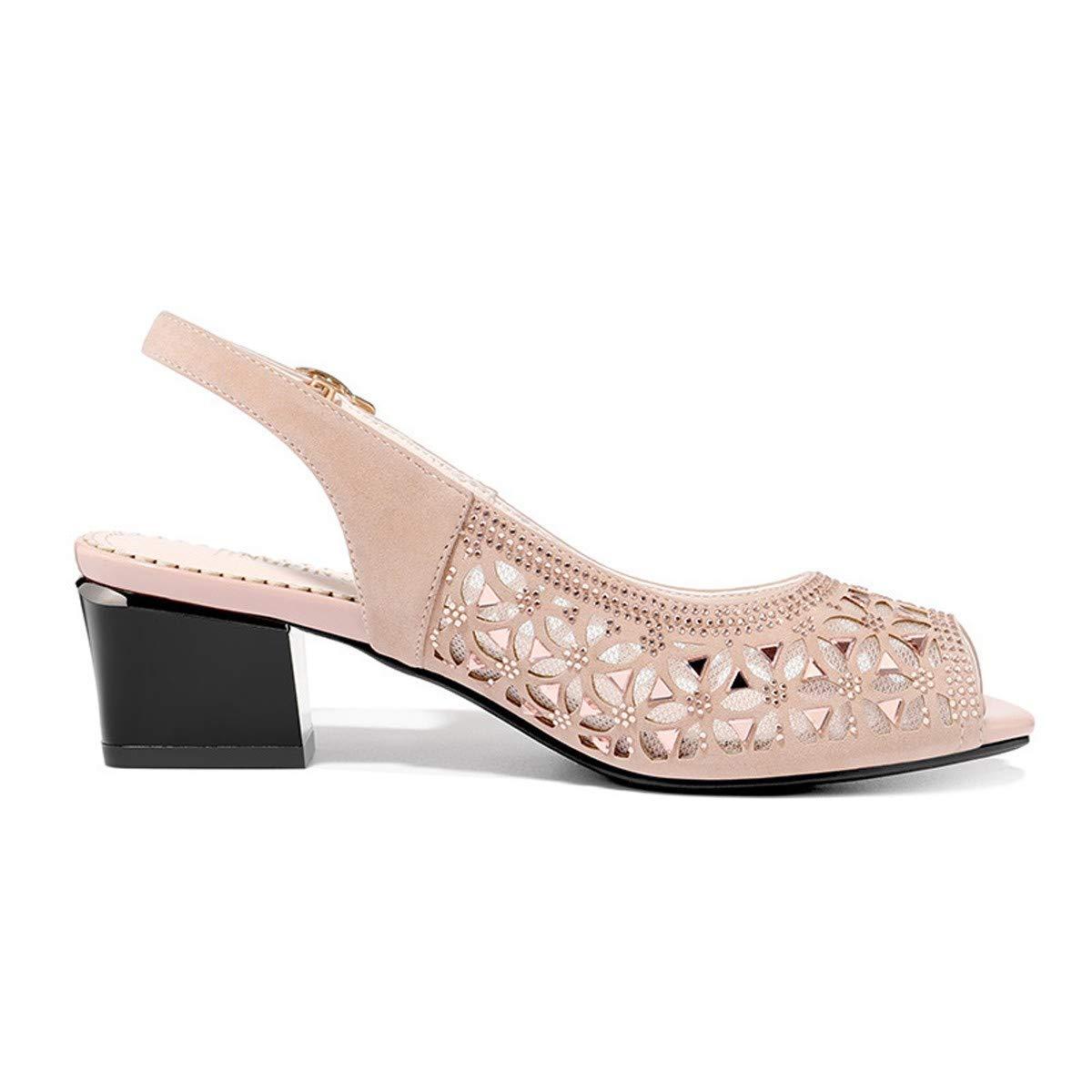 Thirty-five noir SFSYDDY Chaussures Populaires Chaussures à Talon Bruts Fishmouth été Nouveau Style Sandales Milieu Talon 4 5 Cm De Talon