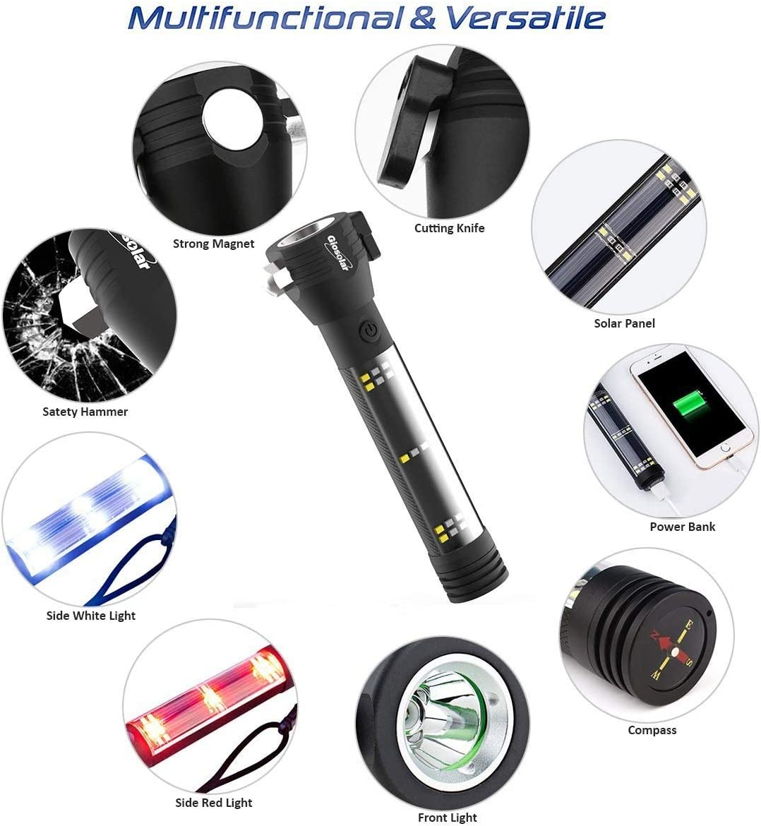 Giosolar Multi-functional Flashlight USB Rechargeable Torch Solar Powered Torch Handheld Waterproof Outdoor Camping Flashlights with USB charge cable for Hiking and Emergency Use