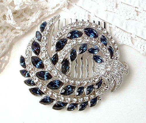 Great Gatsby Sapphire Blue Rhinestone Bridal Hair Comb, Navy Crystal Wedding Hairpiece Handmade from Vintage Brooch