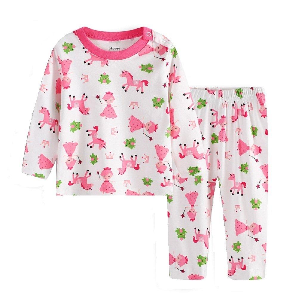 Hooyi Baby Girl Long Sleeve Sleepwear Cotton Cute Horse Pajamas Set