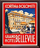 Cortina-Dolomiti, Grand Hotel Bellevue Print 20.73''x16.72'' by Print Collection in a Cherry Grande
