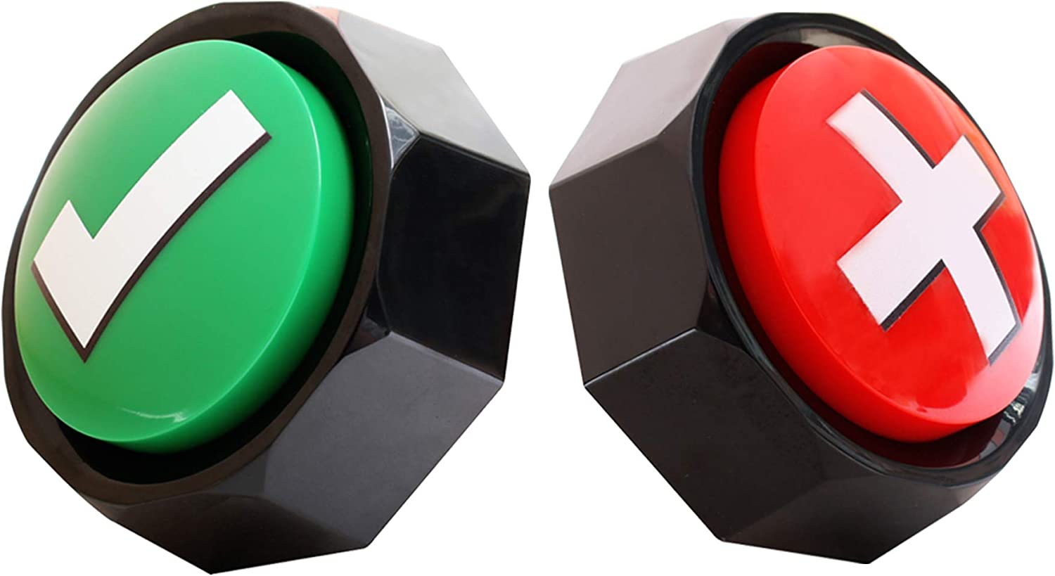 Answer Buzzers, Sound Buttons, Set of 2 Assorted Colored Buzzers, Easy Buttons Judge Right or Wrong, Talking Buttons, Used for Game Interaction,Contains 2AAA Batteries.