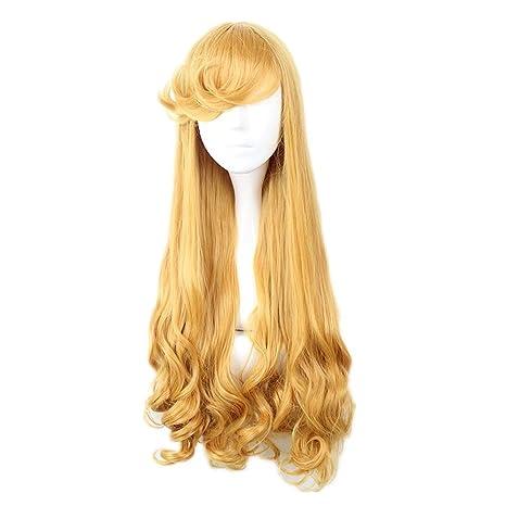 COSPLAZA Rubia amarilla larga floja onda espirales chica Cosplay peluca con flequillo apoyos del desfile de