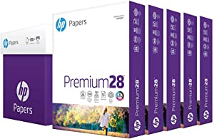 HP Printer Paper 8.5x11 Premium 28 lb 5 Ream Case 2500 Sheets 100 Bright Made in USA FSC Certified Copy Paper HP Compatible 205200C