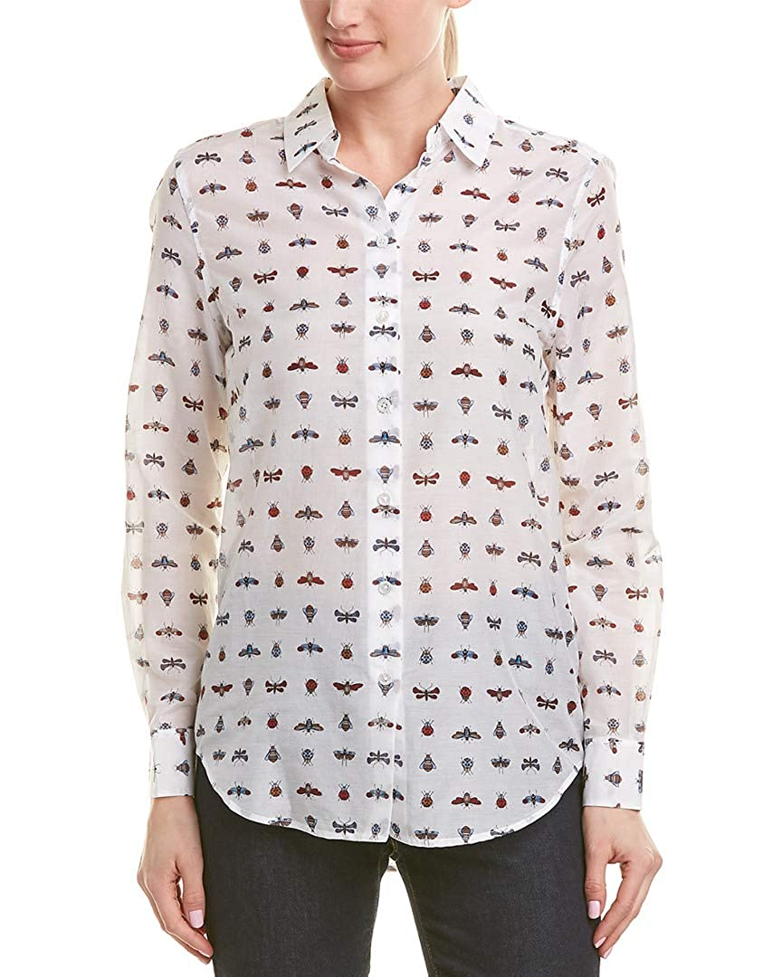 bb89a94af7f38b Amazon.com: Equipment Essential Insect-Print Cotton Silk Shirt in Bright  White Multi: Clothing