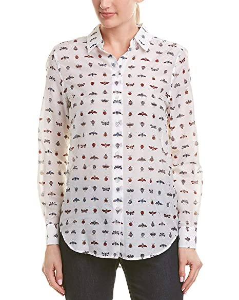 d75947297c547 Amazon.com  Equipment Essential Insect-Print Cotton Silk Shirt in Bright  White Multi  Clothing