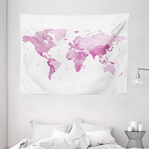 Ambesonne Pale Pink Tapestry, World Map Continents Island Land Pacific Atlas Europe America Africa, Wide Wall Hanging for Bedroom Living Room Dorm, 80 X 60 , Pink White