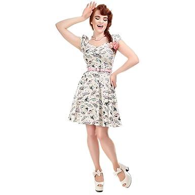 7f68eeeb9e Collectif Vintage Women s Mini Dolores Doll 50s Car Print Dress   Amazon.co.uk  Clothing